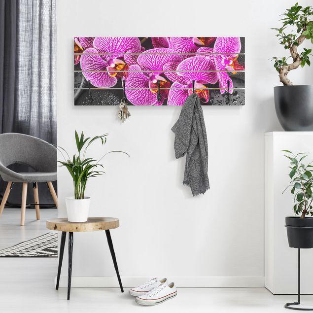Wandgarderobe Holz - Pinke Orchidee