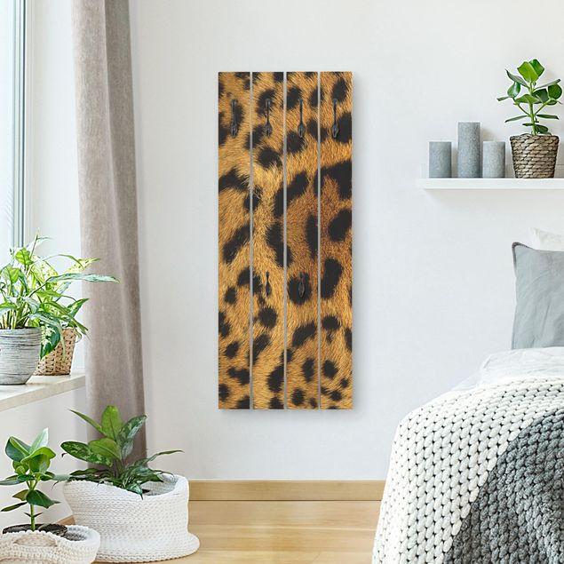 Wandgarderobe Holz - Servalkatzenfell