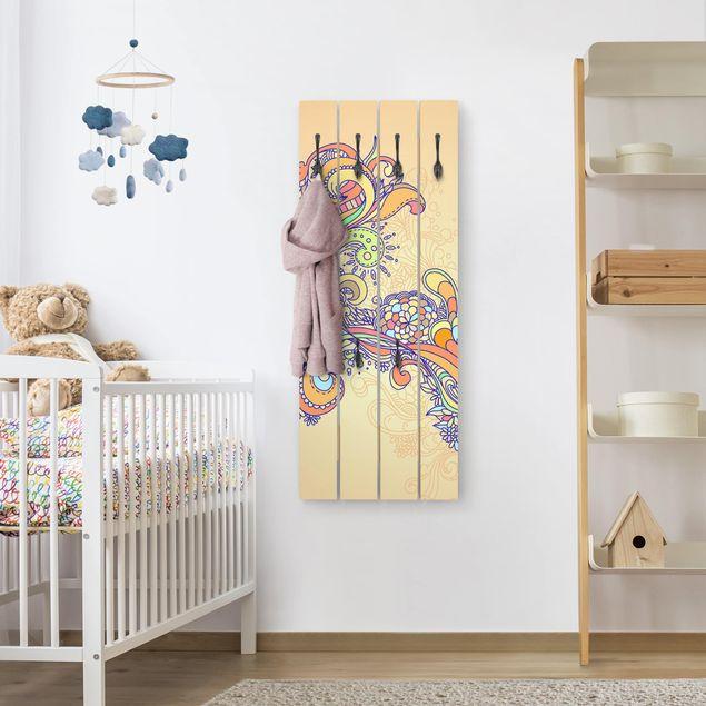 Wandgarderobe Holz - Sommerillustration