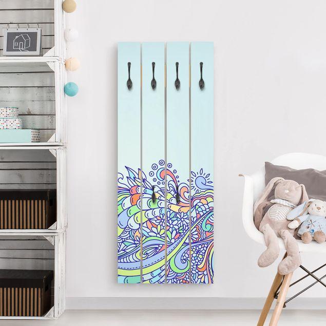 Wandgarderobe Holz - Sommerlicher Blütentraum