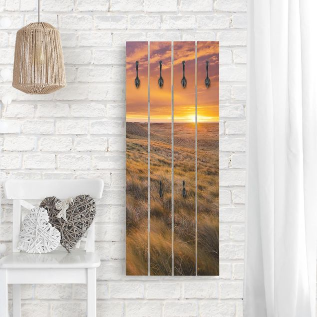 Wandgarderobe Holz - Sonnenaufgang am Strand auf Sylt