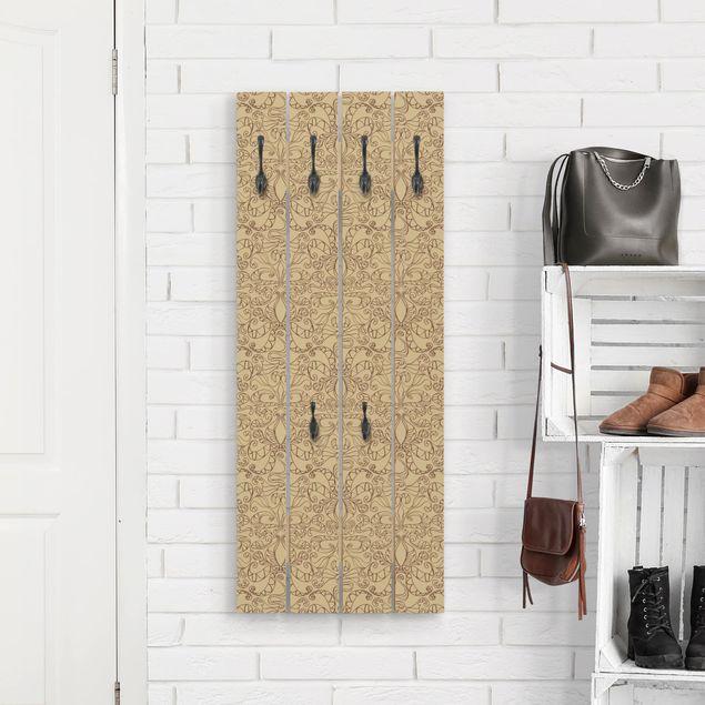 Wandgarderobe Holz - Spirituelles Muster Beige