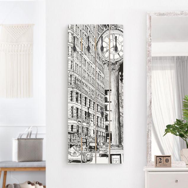 Wandgarderobe Holz - Stadtstudie - Flatiron Buidling