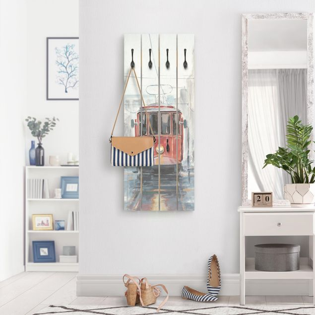 Wandgarderobe Holz - Straßenbahn-Studie I