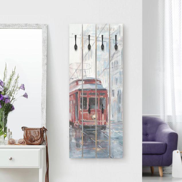 Wandgarderobe Holz - Straßenbahn-Studie II