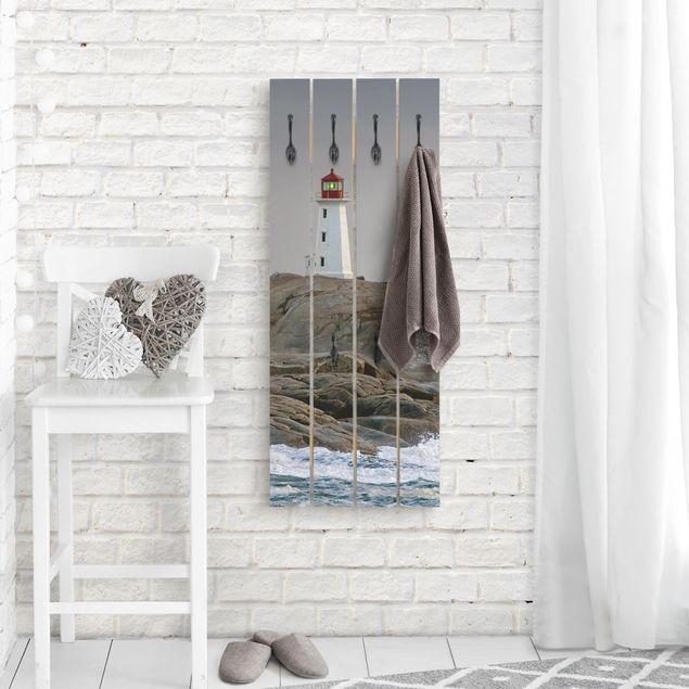 Wandgarderobe Holz - Sturmwellen am Leuchtturm