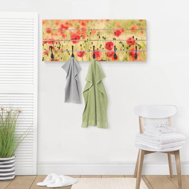 Wandgarderobe Holz - Summer Poppies