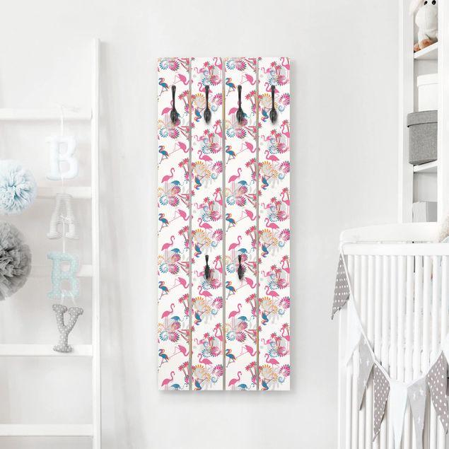 Wandgarderobe Holz - Tanz der Flamingos