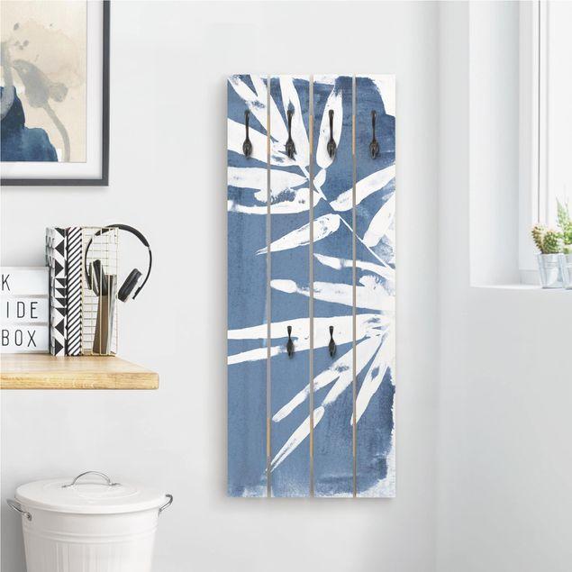 Wandgarderobe Holz - Tropische Blätter Indigo I