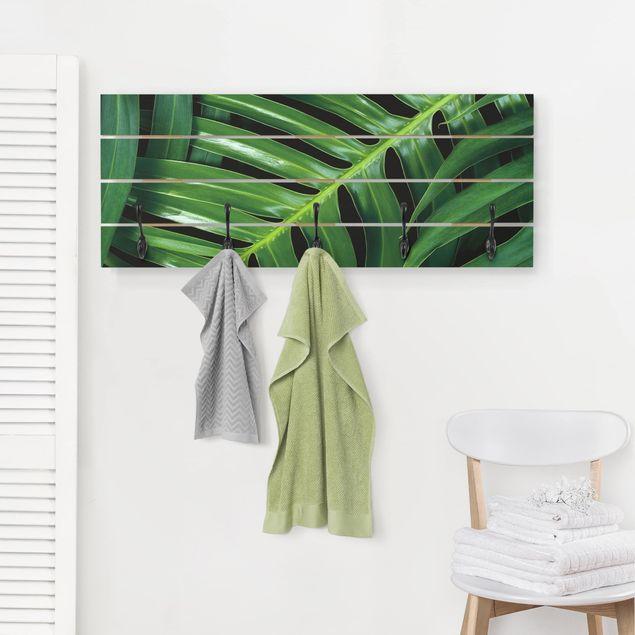 Wandgarderobe Holz - Tropische Blätter Philodendron