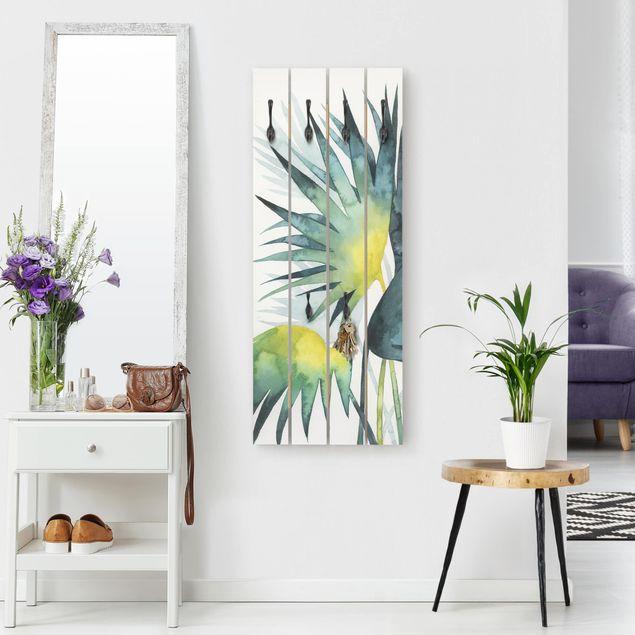 Wandgarderobe Holz - Tropisches Blattwerk - Fächerpalme