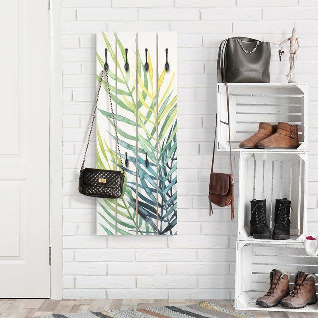 Wandgarderobe Holz - Tropisches Blattwerk - Palme