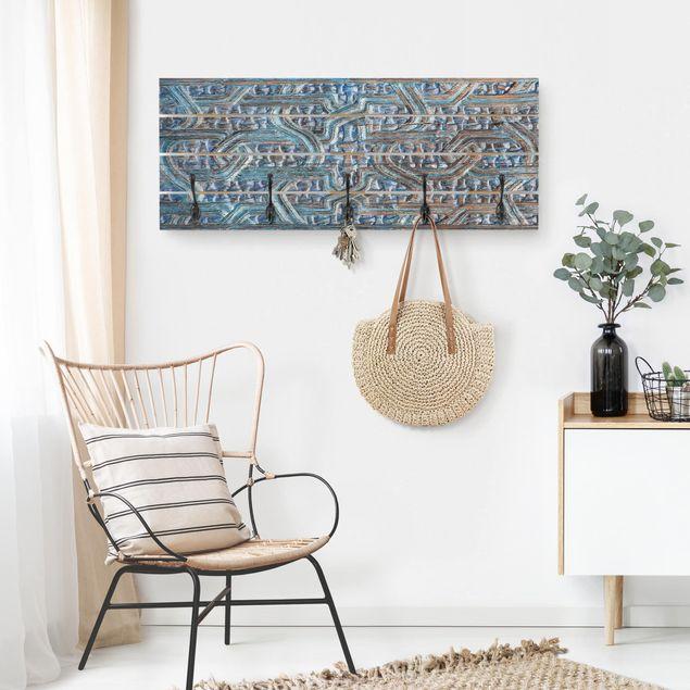 Wandgarderobe Holz - Tür mit marokkanischer Schnitzkunst