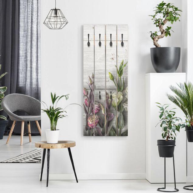 Wandgarderobe Holz - Tulpen-Rose Shabby Holzoptik
