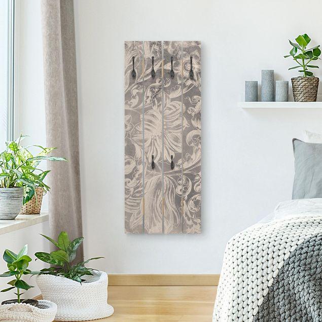 Wandgarderobe Holz - Verblühtes Blumenornament II