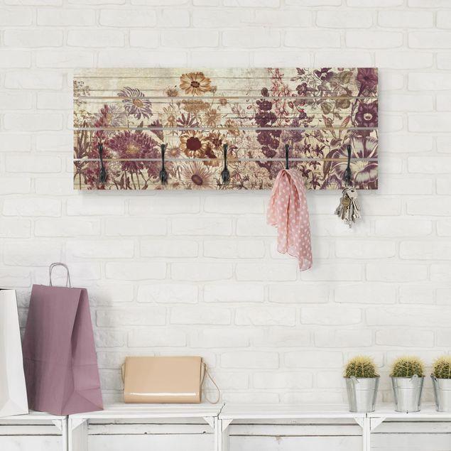 Wandgarderobe Holz - Vintage Blumen Holzoptik