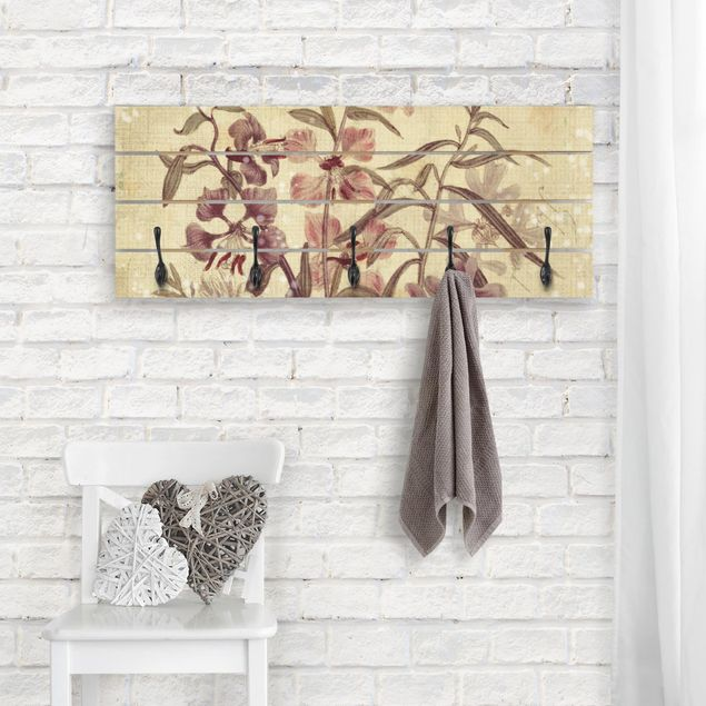 Wandgarderobe Holz - Vintage Florale Leinenoptik