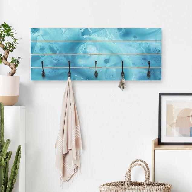Wandgarderobe Holz - Welle Aquarell Türkis I
