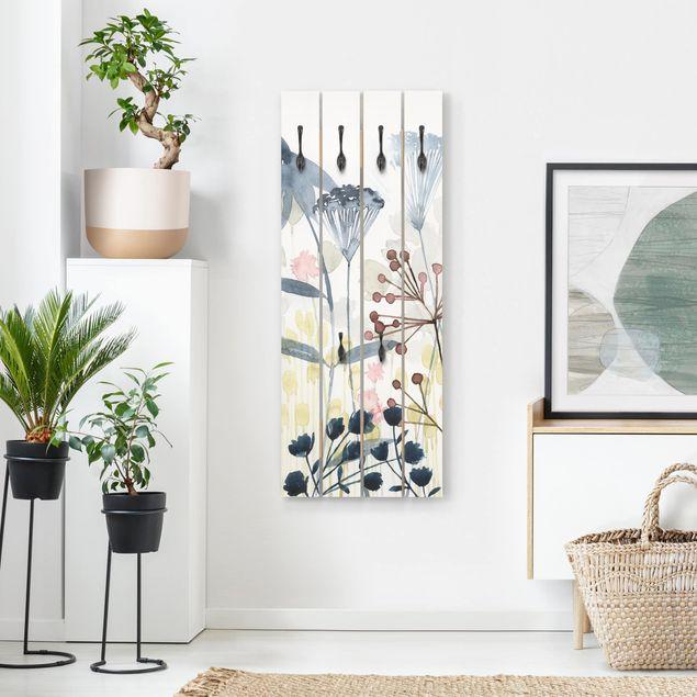 Wandgarderobe Holz - Wildblumen Aquarell I