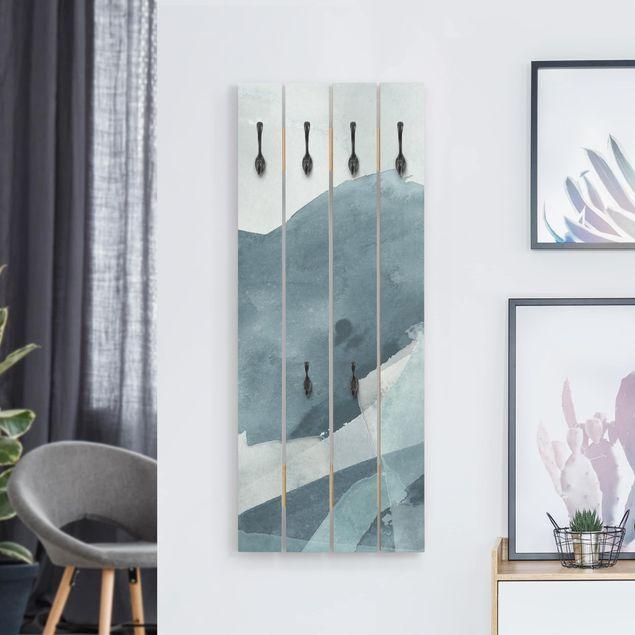 Wandgarderobe Holz - Wogen in Blau II