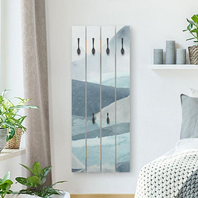 Wandgarderobe Holz - Wogen in Blau IV