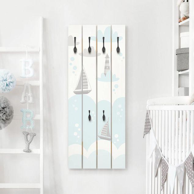 Wandgarderobe Holz - Wolken mit Wal und Leuchtturm