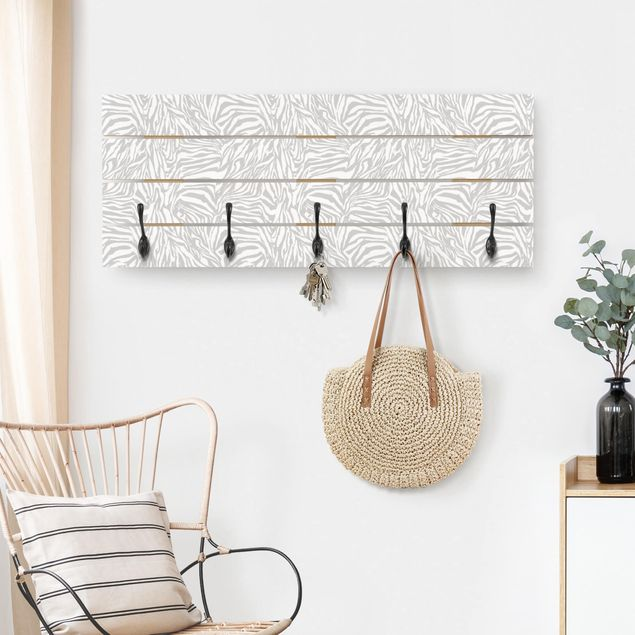 Wandgarderobe Holz - Zebra Design hellgrau Streifenmuster