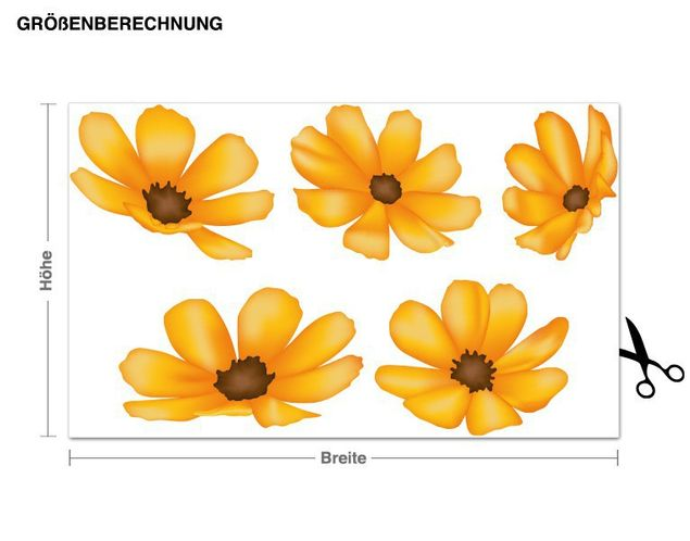 Wandsticker Blüten Orange