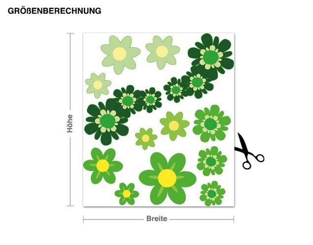 Wandsticker Blüten-Set grün
