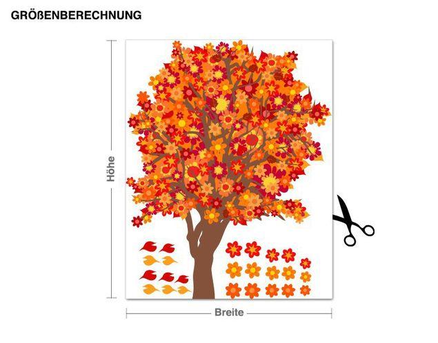 Wandsticker Blütenbaum orange