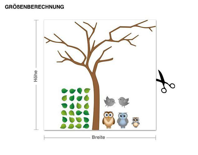 Wandsticker Edle Eulen auf Baum