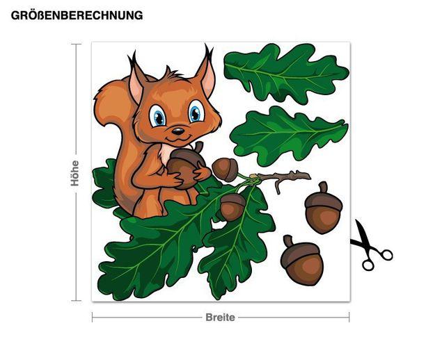 Wandsticker Eichhörnchen mit Zweig