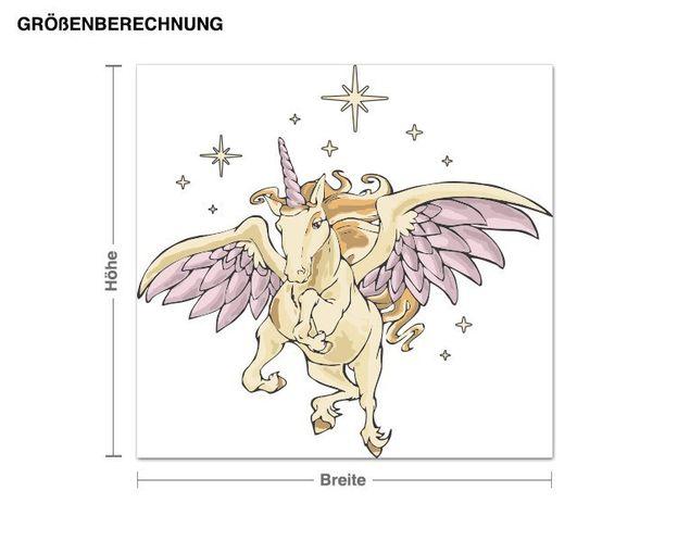 Wandsticker Einhorn mit Flügeln