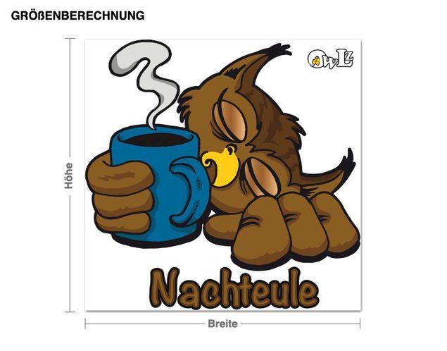 Wandsticker Eule Carsten mit Kaffee
