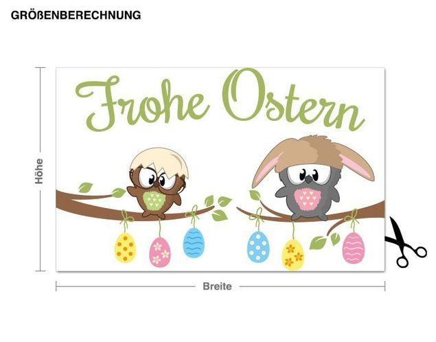 Wandsticker Eulen wünschen frohe Ostern