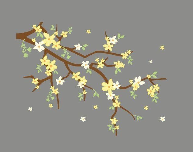 Wandsticker Gelbe Blüten am Zweig