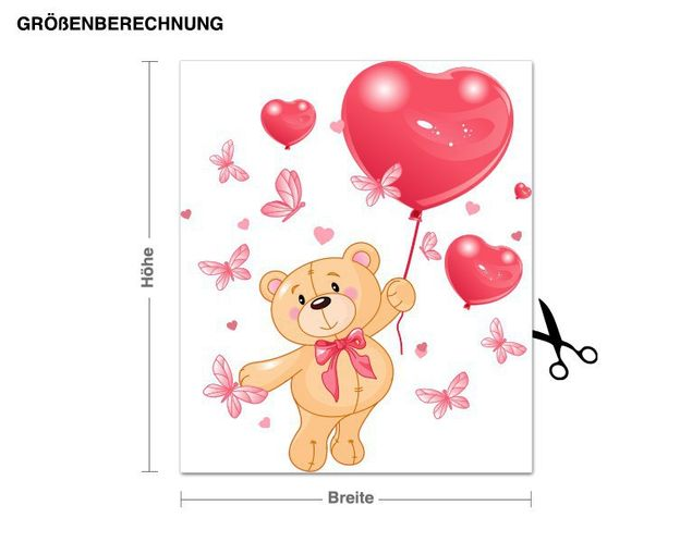 Wandsticker Herz-Teddy