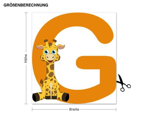 Wandsticker Kinder ABC - Giraffe