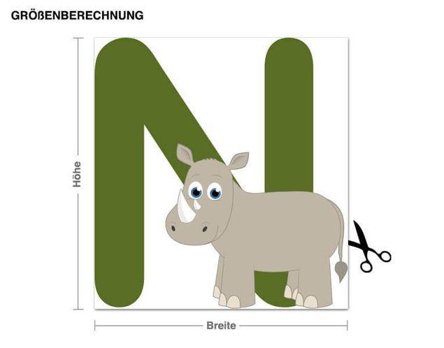 Wandsticker Kinder ABC - Nashorn
