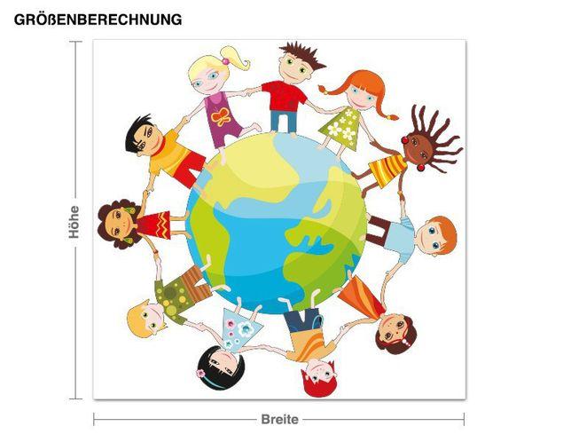 Wandsticker Kinder-Weltkugel