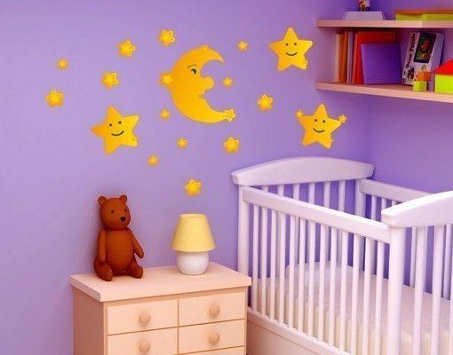 Wandsticker Mond und Sterne