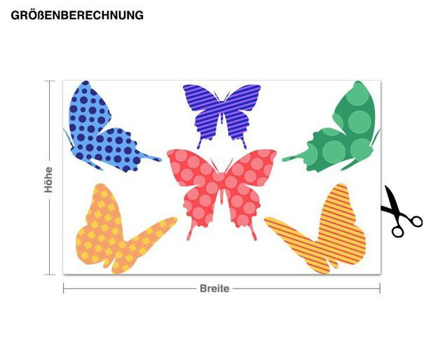 Wandsticker Muster Bunte Schmetterlinge