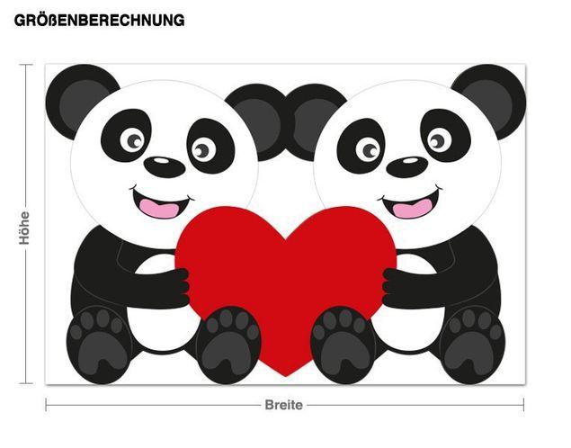 Wandsticker Pandas mit Herz