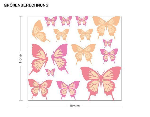 Wandsticker Pastellfarbenes Schmetterlings-Set
