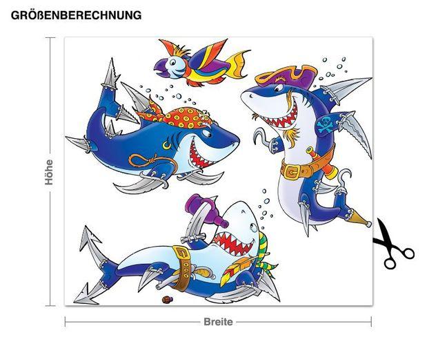 Wandsticker Piraten-Haie