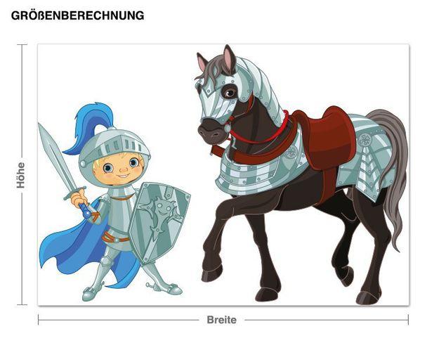 Wandsticker Ritter mit seinem Pferd