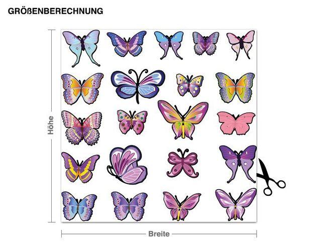 Wandsticker Schmetterlingsset lavendel
