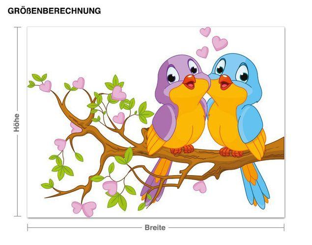Wandsticker Verliebte Vögelchen