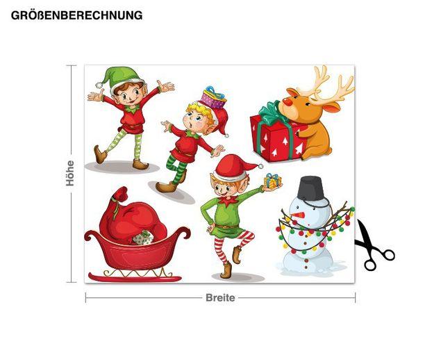 Wandsticker Weihnachtselfen Set