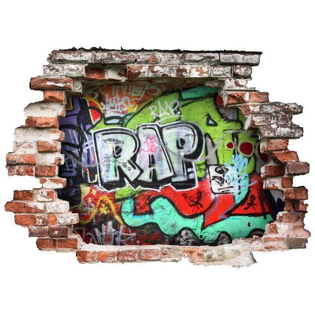 3d Wandtattoo Graffiti Quer 3 4
